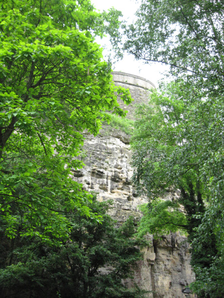 Ancient old city wall in luxembourg grund photo