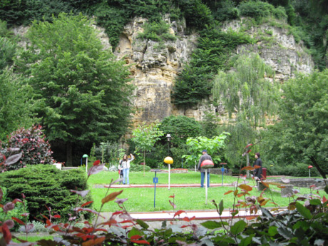 Minigolf field and play grounds in luxembourg grund valley photo